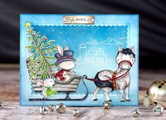 The new winter/holiday stamp collection illustrated by Stacey Yacula is now available! This season we venture out of the woods and down to Mistletoe Farm! This year's collection of adorable new animals from Stacey Yacula are ready for the cold. Christmas Cards 2018, Merry Christmas Sign, Holiday Cards, Christmas Crafts, Xmas, Joy Sign, Western Theme, Card Patterns, Winter Cards