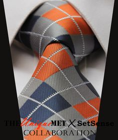 "Orange Gray Navy Blue Check Stripe 100% Silk Handmade 3.4"" New Jacquard Woven Classic Men's Tie Necktie Wedding Formal Suit T12"
