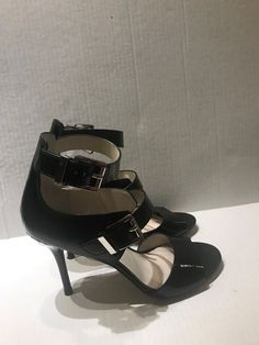3ee4b68c986 Michael michael kors black leather ankle strap open toe leather heels sz 7.5