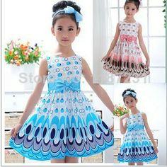 2014 новых детей девочки платье милый павлин цвета рукавов случайных летом девушка голубом платье принцессы детская одежда 190,58
