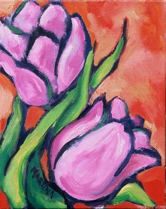 Easy+Canvas+christmas+Painting+Ideas | Tulips painting - Original floral still life abstract tulips fine art ...