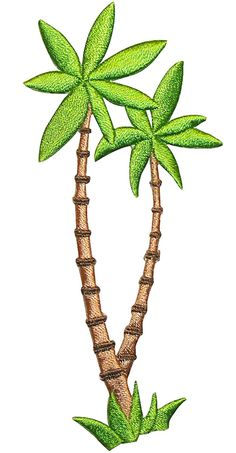 "Amazon.com: [Single Count] Custom and Unique (2"" by 4 1/2"" Inches) Tropical Exotic Beach Scene Palm Tree Iron on Embroidered Applique Patch {Green and Brown Colors}"