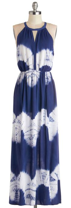 Navy and White Tie Dyed Maxi Dress