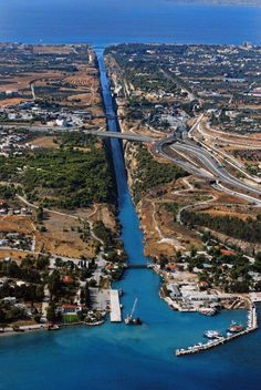 ~Corinth Canal~ When you see the depth from the bridge and realize men dug that by hand. My grandfather was from a village called Pitsa in Corinth. Albania, Mykonos, Santorini, Corinth Canal, Corinth Greece, Places To See, Places To Travel, Travel Around The World, Around The Worlds