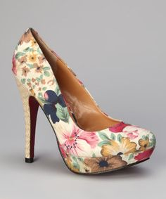 Take a look at this Beige Bouton Platform Pump by Marilyn Moda on #zulily today!