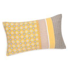 Housse de coussin en coton jaune/grise 30 x 50 cm VALONGO