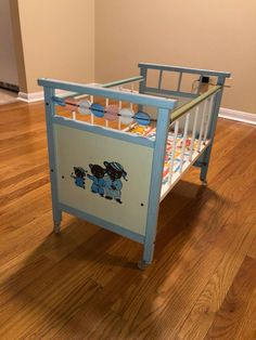 Side rails with plastic covered, rail go up and down. Great for play or to display dolls. All wheels attached. Baby Doll Crib, Baby Crib Bedding, Baby Dolls, Vintage Baby Cribs, Doll High Chair, Baby Doll Strollers, Pink Doll, Doll Display, Doll Furniture