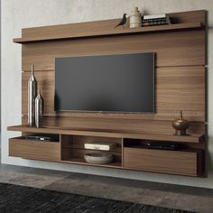 City MDF Floating Wall Theater Entertainment Center