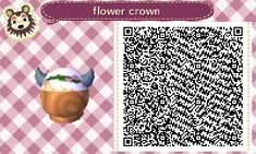 White hair with horns flower crown hat: ACNL QR clothes