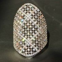 Wish | Huge 925 Silver Natural Gemstones White Sapphire Ring Wedding Birthstone Bride Engagement Multilevel Brand Ring Jewelry Size 6 7 8 9 10