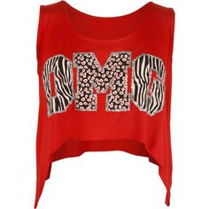 Page OMG Print Crop Top (620 INR) ❤ liked on Polyvore featuring tops, crop tops, shirts, red, red vest, animal print shirt, sleeveless shirts, red shirt and sleeveless crop top