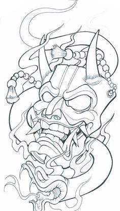 Demon Mask Tattoo Designs Chinese mask tattoo meaning Tattoo Design Drawings, Tattoo Sketches, Drawing Sketches, Tattoo Outline Drawing, Japan Tattoo Design, Tatoo Designs, Drawing Ideas, Kritzelei Tattoo, Hanya Tattoo