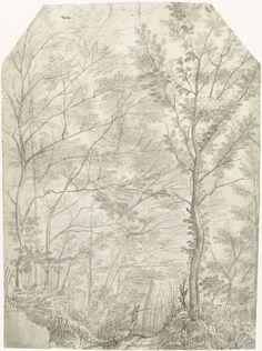 Gerard ter Borch (I) | Bos van de Villa Madama buiten Rome, met een jager, Gerard ter Borch (I), c. 1610 |