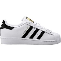 """""""The supreme ruler of the sneaker world since the '70s, the Adidas Superstar shoe is here to stay. These men's shoes stay true to the legacy in a full grain leather upper with serrated 3-Stripes and t"""