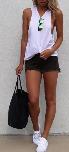 #summer #fblogger #outfits | White Tank + Black Shorts                                                                             Source