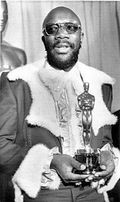"""Hayes wins Oscar for film """"Shaft"""" for """"Theme from Shaft"""". First black winner for Best Original Song; First black winner for any award other than in the acting categories. Black Actors, Black Celebrities, Academy Award Winners, Academy Awards, African American Slavery, Isaac Hayes, Afro, Old School Music, Jazz"""