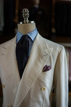 Ivory Denim Double Breasted Suit by B&TAILOR in Drapers