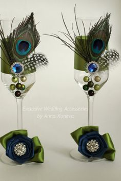 Sale Peacock Wedding glasses Peacock Wedding by JewelryBouquet
