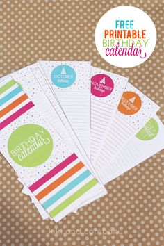Printable Birthday Calendar {free printable} + 7 other amazing birthday printables