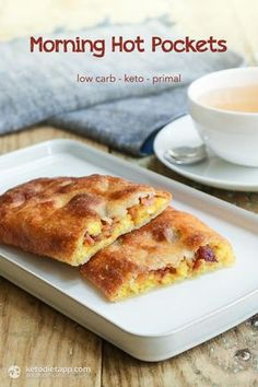Morning Hot Pockets made with bacon, egg and cheese. It's the ultimate keto, gluten free & low carb breakfast!