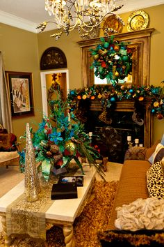 Peacock Themed Home Decor And Mantel Garland Compliment The Peacock Inspired Theme