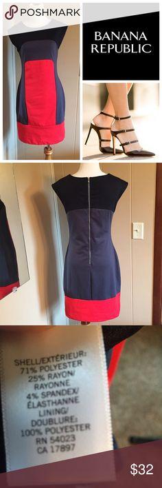 "Banana Republic color block dress Banana Republic color block dress, size 2 excellent condition and quality. Bundle and save  35"" from shoulder to hem Banana Republic Dresses Midi"