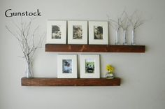 Align exactly like this over media cabinet. with led lights on the bottom panel of top one and top panel of the bottom one - for photo frames, a tiny potted house plant, candles, other decor.