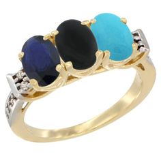 14K Yellow Gold Natural Blue Sapphire, Black Onyx and Turquoise Ring 3-Stone Oval 7x5 mm Diamond Accent, sizes 5 - 10 -- Remarkable product available now. : Jewelry Ring Bands