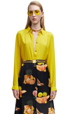 Clio crepe de chine shirt in acid yellow #AcneStudios #SS15