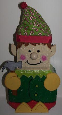Elf Patio Paver decoration- can have blonde, light brown, or dark brown hair… Painted Bricks Crafts, Brick Crafts, Painted Pavers, Cement Crafts, Stone Crafts, Patio Pavé, Christmas Wood, Christmas Crafts, Xmas