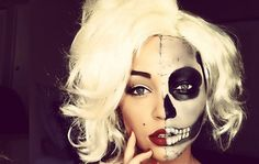 sexy sugar skull face make-up Helloween Make Up, Helloween Party, Pin Up Girls, Marilyn Monroe, Girl Skull, Sugar Skull Makeup, Fall Halloween, Halloween Ideas, Halloween Costumes