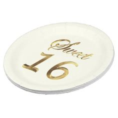 #Sweet 16 Gold Look Typography Ivory Elegant Paper Plate - #birthday #gift #present #giftidea #idea #gifts