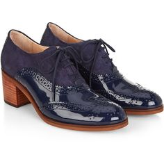 Monsoon McGurk Block Heel Brogue (425 RON) ❤ liked on Polyvore featuring shoes, oxfords, block heel shoes, balmoral shoes, vintage footwear, balmoral oxfords and vintage brogues