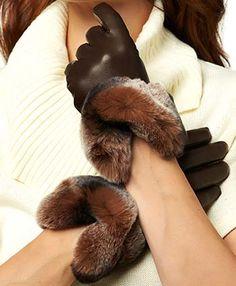 Women's Italian Rex Rabbit Fur Cuff Cashmere Lined Winter Leather Gloves
