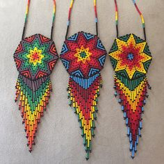 Items similar to Beautiful Mexican Huichol Beaded Necklace on Etsy Seed Bead Jewelry, Seed Bead Earrings, Beaded Jewelry, Beaded Necklace, Seed Bead Patterns, Jewelry Patterns, Beading Patterns, Earring Tutorial, Loom Bracelets