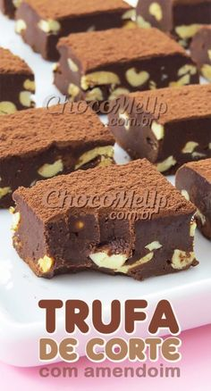Recipe for Cutting Truffle with Peanuts. This truffle is super creamy and is very . - Recipe for Cutting Truffle with Peanuts. This truffle is super creamy and is very simple and practi - Köstliche Desserts, Delicious Desserts, Dessert Recipes, Yummy Food, Tasty, Food Platters, Food Gifts, Sweet Recipes, Holiday Recipes