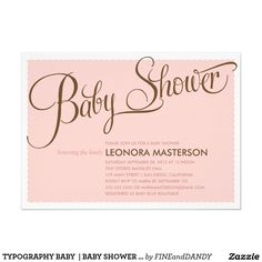 "TYPOGRAPHY BABY  | BABY SHOWER INVITATION 5"" X 7"" INVITATION CARD"