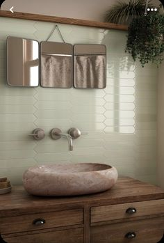 Rustic Master Bathroom, Modern Bathroom Tile, White Vanity Bathroom, Rustic Bathrooms, Bathroom Interior Design, Bathroom Tile Walls, Small Bathroom, Earthy Bathroom, Bathroom Plants