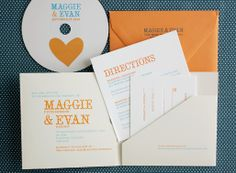 Orange and blue wedding invite by Bird & Banner (teeheehee... i love the idea of including a personalized cd recording with the invite)  ....maybe blue and orange can work...