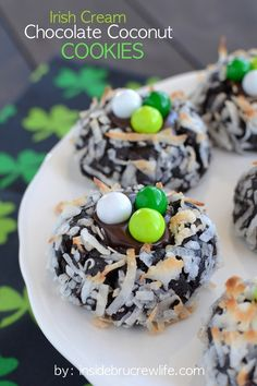 Irish Cream Chocolate Coconut Cookies - chocolate coconut cookies with a creamy Irish Cream chocolate center