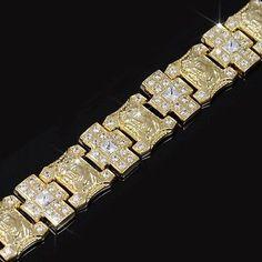 "Mens Gold Finish Lab Diamond Cross & Jesus Fully Iced Link Bracelet 21mm x 9"""