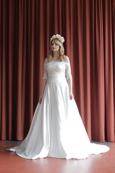 Satin and lace bespoke bridal designer   simple but so elegant   www.ThingsIAdore.com