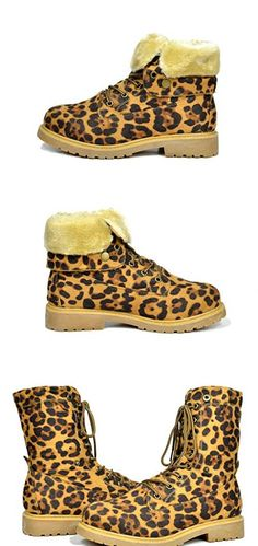 DREAM PAIRS LUGG Womens Winter Fur Lined Collar Lace up Cozy Snow Ankle Boots with Durable Outsole Booties Leopard Size 9 #DREAMPAIRS Riding Boots, Ankle Boots, Slippers, Lace Up, Pairs, Booty, Fur, Snow, Winter