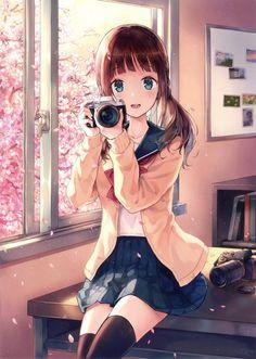 [Kawaii][Original] Smile for the camera! Manga Anime Girl, Anime Girl Drawings, Anime Artwork, Kawaii Anime Girl, Anime Chibi, Anime Girls, Anime Eyes, Pretty Anime Girl, Cool Anime Girl