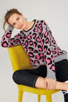 Womens Next Neon Animal Jumper - Grey Casual Outfits, Fashion Outfits, Casual Clothes, Animal Sweater, Oversized Jumper, Clothes 2019, Jumpers For Women, Uk Online, Knitwear