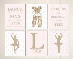 Little girls room decor, baby girl nursery, girls wall art, ballerina room, ballerina nursery art, toile nursery, girls quotes, set of 6by PicabooArtStudio