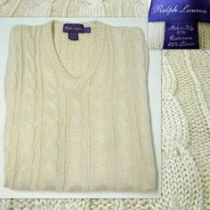 """New"" Men's RALPH LAUREN ""Purple Label"" Sweater Vest Cashmere Linen Ivory V-Neck Made in Italy Large DON'T MISS OUT!   SOLD!"
