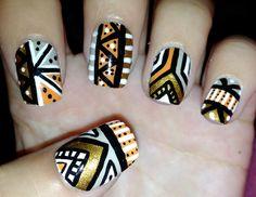 Orange and gold aztec/tribal fake nails by CompulsiveNails on Etsy, $25.00