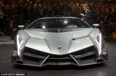 Unveiled: The new Lamborghini Veneno is introduced by chief executive and chairman Stephan Winkelmann during a preview of Volkswagen Group ahead of the Geneva Car Show