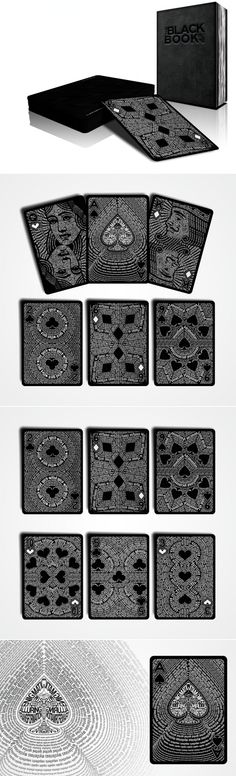 The Black Book of Cards by UnCommon Beat is a playing card deck which features typographic portraits. #graphic #design #typography